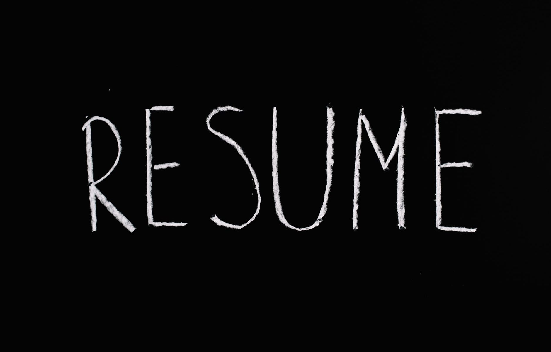 resume lettering text on black background